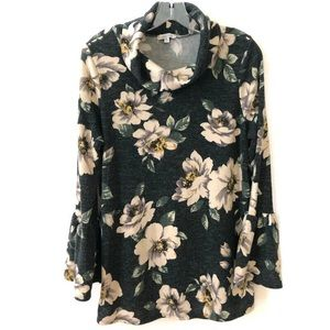 White Birch floral bell sleeve sweater top